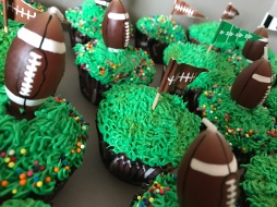 Football-themed birthday cupcakes